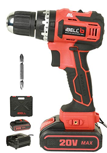 iBELL BM18-60 20V Brushless Impact Driver Drill (Cordless) with 1 Battery, Charger, Case and Screw Driver Bit - 1 Year Warranty.