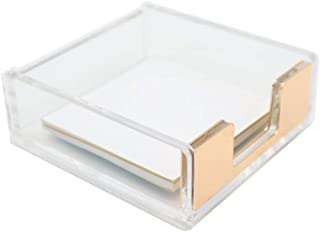 MEI YI TIAN Clear Acrylic Gold Self-Stick Note Pad Holders Memo Note Cube Holder Dispenser 3.5x3.3 Inch for Office Home Sc...