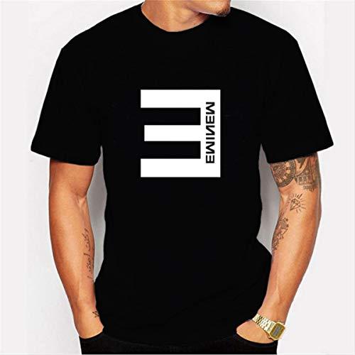 LSJTZ Männliche schwarzes T-Shirt Mode Persönlichkeit Rapper Eminem Printed Cotton,Black2,L