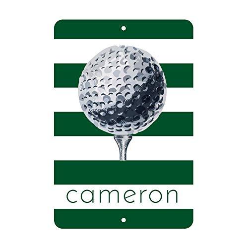Monsety Golf-Metallschild mit Golfball-Golf-Motiv, mit Namen, personalisierbar, Wanddekoration, Aluminiumschild, 30 x 40 cm