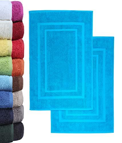 NatureMark 2er Pack Badvorleger Badematte | Premium Qualität | 100% Baumwolle | 50 x 80 cm | Duschvorleger Duschmatte Doppelpack | Farbe: Türkis