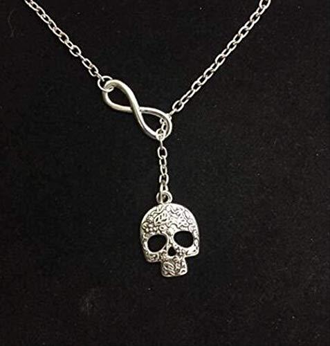 ZHIFUBA Co.,Ltd Collar Infinity Lariat Skull Scales Globe Believe Love Tortuga Pasta de Dientes Colgante Collar Vintage Gargantilla de Plata Joyería de Mujer