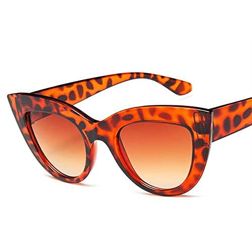 HAIGAFEW Gafas De Sol De Ojo De Gato para Mujer Gafas De Sol De Espejo Plateadas De Forma Mediana Y Gruesa Gafas De Mujer Proteger Los Ojos-Leopardo
