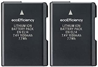 ecoEfficiency 2-Pack of EN-EL14, EN-EL14A Batteries for Nikon D3500, D3100, D3200, D3300, D3400, D5100, D5200, D5300, D5500, D5600, DF, Coolpix P7000, P7100, P7700, P7800 DSLR Cameras