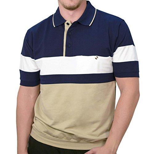 Classics by Palmland Knit Short Sleeve Banded Bottom Shirt 6190-163 Navy (Small, Navy)