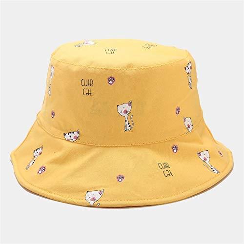 H/A GUOHUU Encantador Gato Bucket Sombrero Reversible Pescador Sombrero Harajuku Dibujos Animados Animal al Aire Libre Panama Mujeres niña GUOHUU (Color : Yellow)