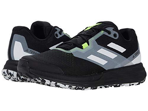 adidas Men's Terrex Two Flow Trail Running Shoe, Core Black/Crystal White/Solar Yellow, 8