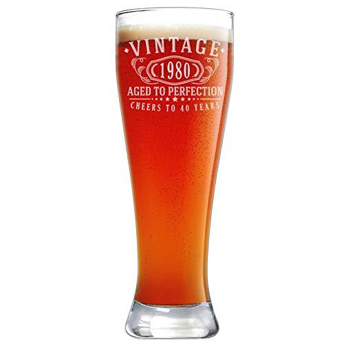Bicchiere da birra Pilsner vintage 1980 inciso, 650 ml, 40° compleanno invecchiato alla perfezione, regalo di 40 anni