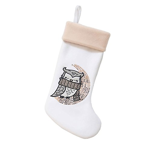BambooMN 1 Pc Set 18' Classic Hand Embroidered Sequined Cute Animal Christmas Stocking, 03 Owl