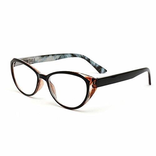 MIDI-ミディ おしゃれなレディース老眼鏡 上品なフォックスタイプ ケース付 ブラック&スモーキーブルー (M-103,C3,+1.25)