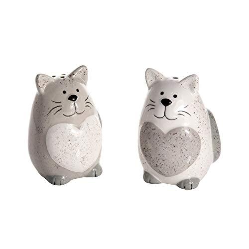 SPOTTED DOG GIFT COMPANY 2er Set Salz und Pfefferstreuer im Katzendesign, Keramik, weißer und Grauer Streuer mit Herzen für Salz und Pfeffer, Küchen Deko Katze Geschenk für Katzenliebhaber