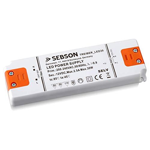 SEBSON Transformador 12V 220V, 30W Driver LED extraplano 155x50x17mm - Tensión Constante para Lámparas LED GU4 MR11 MR16