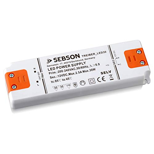 SEBSON® Transformador LED 30W, Driver LED extraplano 155x50x17mm