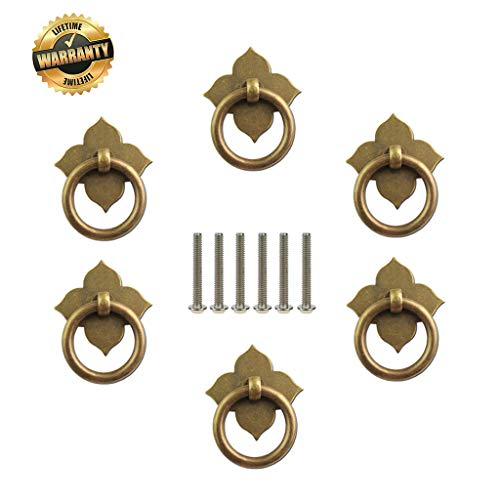 Four-Leaf Cabinet Ring Pull Copper Handle 6 Pcs Restoration Hardware Antique Dresser Drawer Circle Knobs Chinese Style Small Clover Single Hole Antique Wooden Box Cupboard Jewelry Bronze 9/2