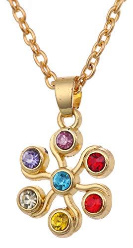 VASSAGO Collar con colgante religioso con símbolo del infinito de 7 chakras espirales de Reiki de la Naturaleza Hindú Om Yoga Centro de Energía Cósmica (oro antiguo)