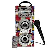 Biwond JoyBox Karaoke Altavoz 10W + Micrófono (Bluetooth TWS, Mando, Radio FM, SD, Batería Interna + Ranura para Batería Extra no Incluida) – Picasso