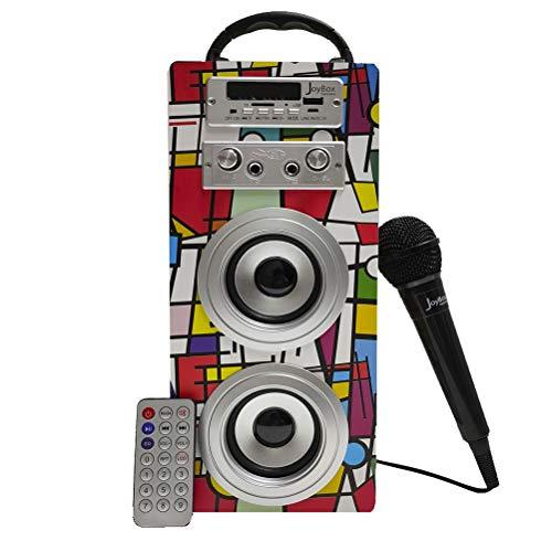 Biwond JoyBox Karaoke Altavoz 10W + Micrófono (Bluetooth TWS, Mando IR AUX, Radio FM, Tarjeta SD, USB, Pantalla LED) – Picasso