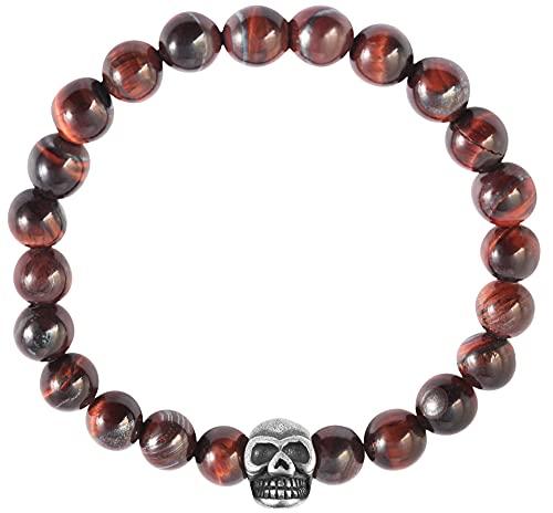 Akzent Pulsera de bolas de piedra natural (ojo de tigre) con elemento de acero inoxidable, calavera