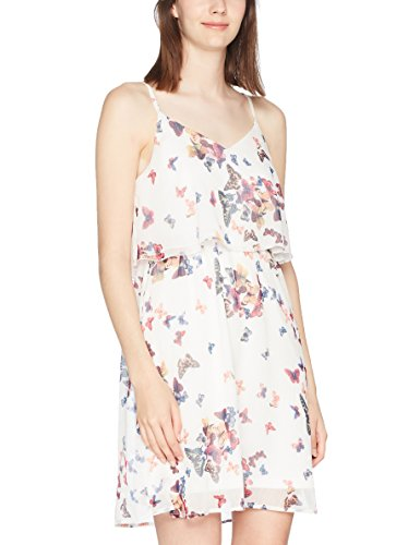 ONLY Damen Kleid Onljulle Strap Short Dress Wvn, Weiß (Cloud Dancer Aop:Butterflies), Small (Herstellergröße:36)