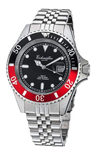 Taucheruhr Silber Lupe Herren Armbanduhr Taucher Uhr Edelstahl 20 ATM Miyota 2115 (Rot)