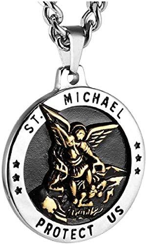 LKLFC Collar para Mujer Collar para Hombre Collar con Colgante El arcángel Medalla católica Amuleto de Acero Inoxidable Collar con Colgante Cadena de acera Collar con Colgante Regalo para niñas Niños