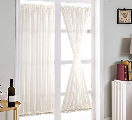 Aspthoyu Cortina de puerta lateral doble con bolsillos para barra, cortinas francesas, cortinas de ventana para puertas corredizas frontales de vidrio, 63,5 x 182,8 cm, color blanco