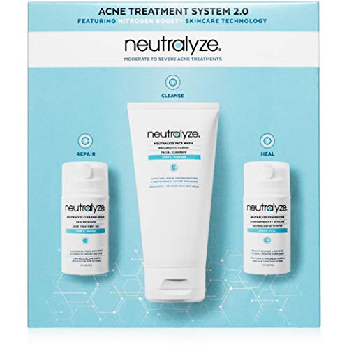 Neutralyze Moderate To Severe Acne Treatment System 2.0 - Maximum Strength Acne Treatment Kit Includes Face Wash + Clearing Serum + Synergyzer + Nitrogen Boost Skincare Technology
