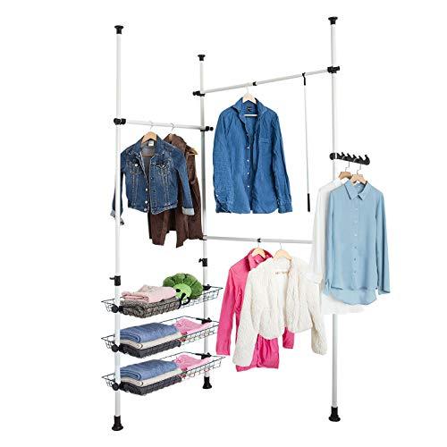 SoBuy Telescopic Wardrobe Organiser, Hanging Rail, Clothes Rack, Storage Shelving, FRG34