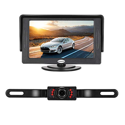 Backup Camera and Monitor Kit for Car,Universal Wired Waterproof Rear-View License Plate Car Rear Backup Camera + 4.3 LCD Rear View Monitor (Camera and Monitor) car Electronics Features Kits