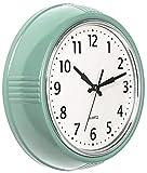 Bernhard Products Retro Wall Clock 9.5 Inch Green Kitchen 50's Vintage Design Round Silent Non Ticking Battery Operated Quality Quartz Clock (Seafoam Green)