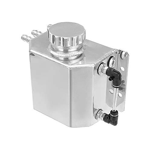 Hwbnde Coolant Overflow Tank Bottle Recovery Reservoir Aluminum JDM Container Universal 1L Water Radiator - Silver