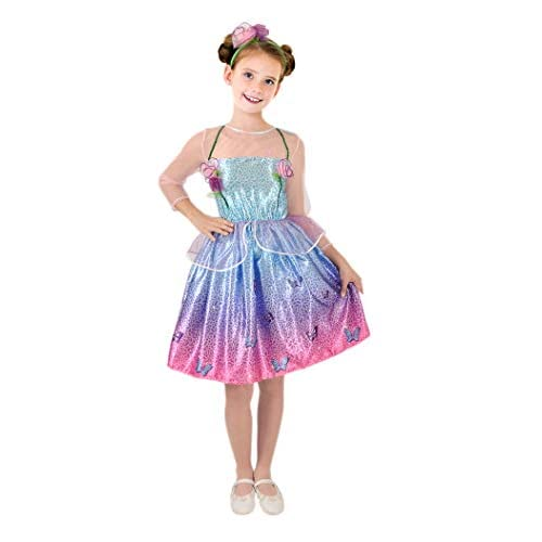 Barbie Principessa Primavera Costume Originale Bambina (Taglia 3-4 Anni), Azzurro/Viola/Rosa