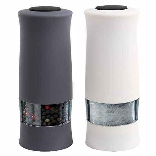 Salz und Pfeffer Mühle Elektrisch Zweiteilig Salzmühle Edelstahl Schwarz Weiß (Elektrische Salz und Pfeffermühle, Gewürzmühle, Transparent, Nachfüllbar)