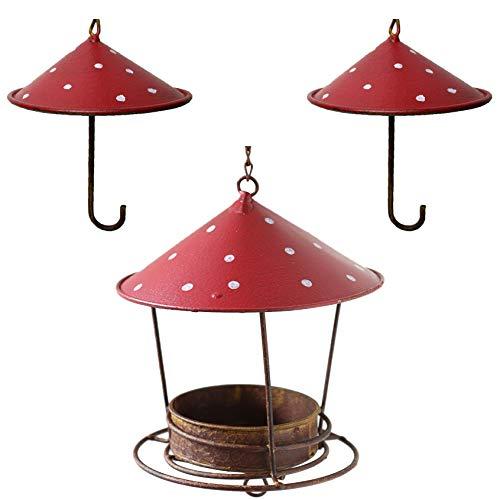 vonHermine Meisenknödelhalter 3er Set Futterspender Vogelfutterspender Metall Vogelhaus rot