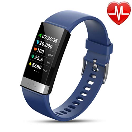 Fitness Tracker Activity Tracker Scherm Touch Waterdicht Smart Band met hartslagmeter Stappenteller Calorieteller Stappenteller Smartwatch voor kinderen Dames Heren Android IOS,Blue