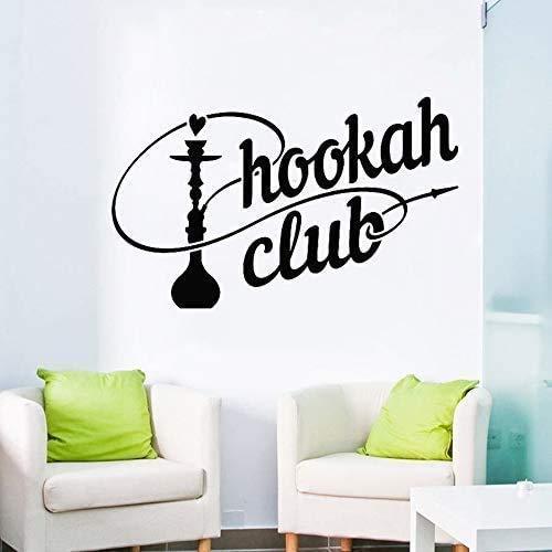 Shisha Club Logo Wandtattoo Shisha Rauchen Arab Cafe Dekoration Wandaufkleber Selbstklebende Wohnkultur Wohnzimmer Schlafzimmer63X39Cm