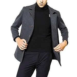 [スカイシイ] テーラードコート コート ジャケット 防寒 ジップ ミドル丈 アウター 無地 シンプル 大人 暖かい テーラードカラー ボタン付き ジップアップ 厚手コート ポケット付き ポケット カジュアルジャケット男性用 カジュアルジャケットスーツ男性用 ファッション おしゃれ上着 冬服メンズ テーラードジャケット ウールコート メルトン ビジネス トレンチコート 上着 グレー 厚め L