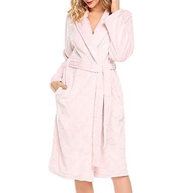 Zeagoo Women's Plush Soft Warm Fleece Bathrobe Robe Kimono for Winter,Pink,One Size