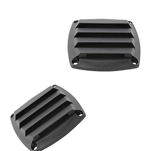 2Pack 3 Inch Louvered Vents, Boat Marine Hull Air Vent Grill Cover Replacement Part for RV Caravan - Rectangular (Black)