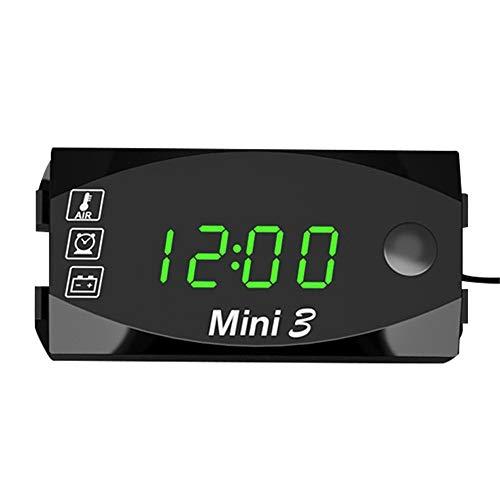 Leeofty VoltíMetro Digital, MedicióN De Voltaje DC, Reloj ElectróNico, TermóMetro 3 En 1, Panel Digital Led Impermeable, DC 6v-30v, para Motocicletas, AutomóViles Y Barcos