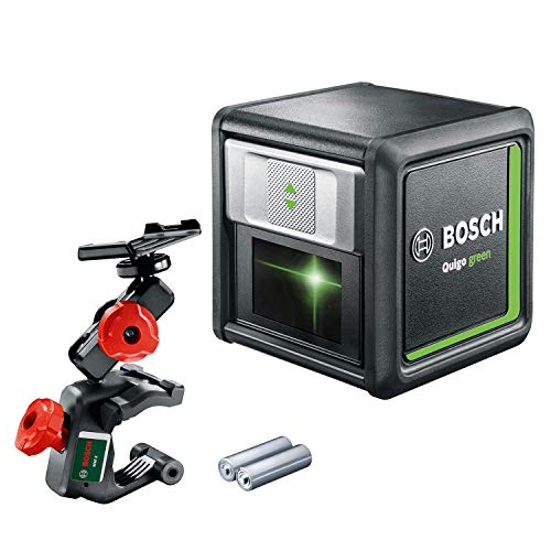 Bosch kruislijnlaser Quigo groen (2x batterijen, groene laserdiode, werkbereik: 12 meter, in doos, groen laser)