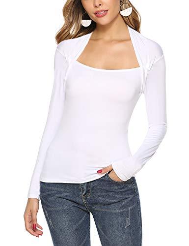 Hawiton damska bluzka z długim rękawem z dekoltem w łódkę wąski krój bluzka bluzka basic casual stretch topy