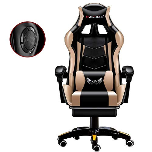 Scra AC Gaming Chair with Bluetooth Speakers, High Back Adjustable Game Chair Adult Electronic Sports Chair with Footrest, Duty Ergonomic Office Computer Desk Chair White (Color : Black Gold)