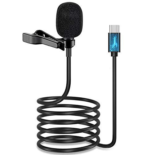Micrófono USB tipo C Lavalier de solapa, [chip DAC] IUKUS Omnidireccional USB-C Lavalier Sistema de clip de micrófono compatible con iP@d Pro 2018 2019 Go0gle Pixe1 2 3 XL