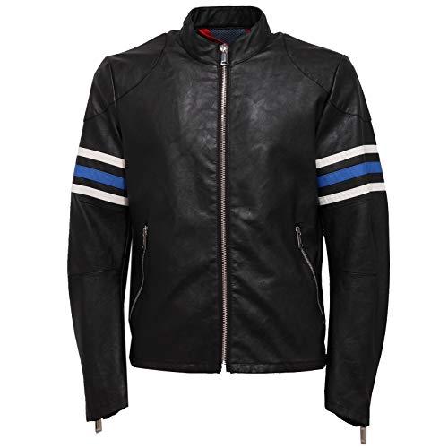 Freedom Day 7301J Giubbotto Uomo FREEDOMDAY Eco-Leather Black Biker Jacket Man [S]