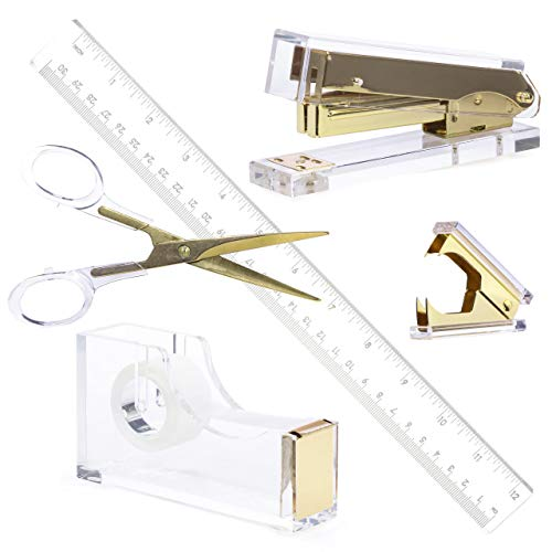 Gold Acrylic Lucite Bundle   Premium Stapler, Tape Dispenser, Scissors, Staple Remover, Ruler   Clear Stationery & Desk Accessories for Everyday Office Needs   Modern, High End, Chic, Luxury Goods