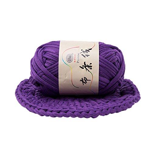 ZHOUBA Manta tejida a mano de hilo grueso trenzado para manualidades, tela de ganchillo (violeta)