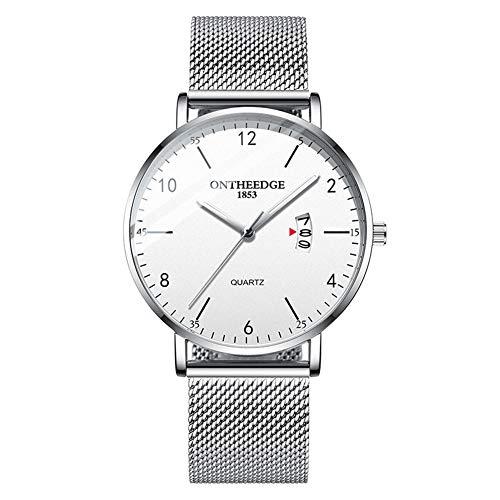 Reloj de pulsera para hombre, estilo casual, de cuarzo, resistente al agua, correa de acero, 4 colores plateados