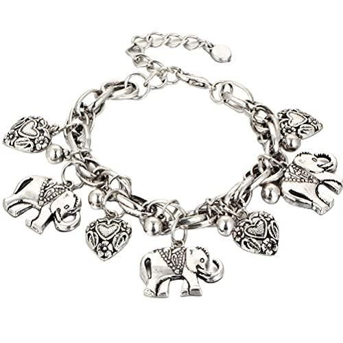 BASOYO Pulsera de elefante de aleación con cadena de elefante de la suerte, pulseras de pie ajustables para mujeres y niñas