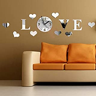 Allequal DIY 3D Home Modern Decoration Crystal Mirror Wall Stickers Living Room Love Clock Home Decor